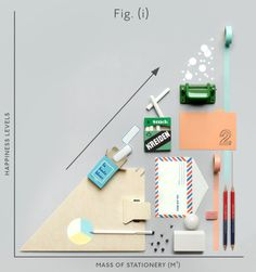 Our new homepage window indicates the direct correlation between mass of stationery accrued & happiness levels. Information Design, Information Graphics, Visualisation, Data Visualization, Things Organized Neatly, Web Design, Grafik Design, Paper Goods, Creative