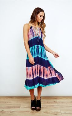 Tie Dye Tassel Midi Dress - SilkFred