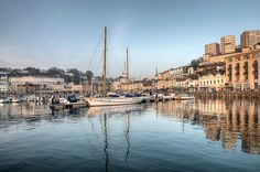 Torquay Harbour Reflections and the yacht Nefertiti
