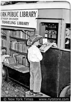 Photo © New York Times, USA ... Mobile Library Lady:  Hey Cowboy, Want a good book? Too dang cute. -pfb :-) ...