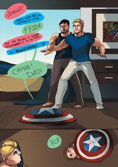 Steve and Tony // The shield is moving! Part 4 Stony Avengers, Superfamily Avengers, Baby Avengers, Spideypool, Marvel Avengers, Stony Superfamily, Funny Marvel Memes, Dc Memes, Avengers Memes