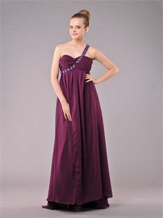 One shoulder Sweetheart With Beadings A-line Floor Length Chiffon Prom Dress PD1140