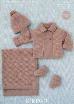 Baby Boy's Coat, Helmet, Booties and Blanket in Sirdar Snuggly 4 ply Baby Knitting Patterns, Arm Knitting, Knitting For Kids, Baby Patterns, Brei Baby, Crochet Baby, Knit Crochet, Knitted Baby Cardigan, Baby Boy