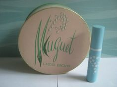 Vintage Coty Muguet Des Bois Powder Box and Solid Perfume. I love lily of the valley.