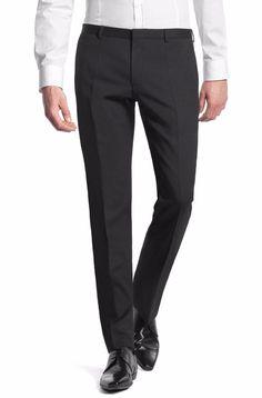 HUGO Boss PANTS Flat FRONT Heise SLIM Fit BUSINESS Trousers MENS Sz GRAY 32 29*  #HUGOBOSS #DressFlatFront