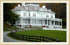Moses Cone Manor National Park,  Blowing Rock NC - Flat Top Manor stood as a 23-room, 13,000 square foot, immaculate white Colonial Revival home featuring large white columns, leaded glass windows, high dormers, a curving banister for the grand sweep staircase made from one piece of cherry wood, equipped with gaslights, telephone and a central heating system.