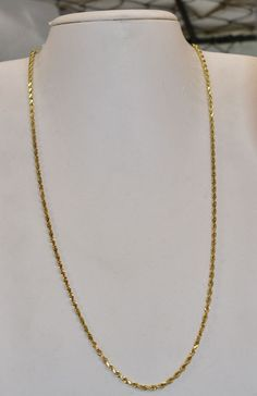 abe925ac5a27f8 14 K Yellow Gold 2 mm Solid Sparkle Rope Chain 23 inch 14.1 grams #Chain