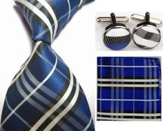 BLUE CHECKED HAND MADE SILK TIE,HANKY,AND CUFFLINKS SET