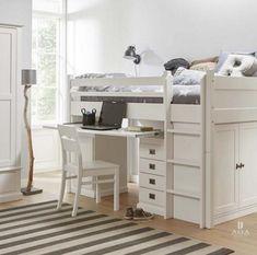 Alta halfhoogslaper,deelbaar,wit,kast,bureau