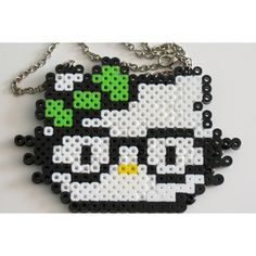 Hello Kitty Geek Nerdy Glasses Perler Fuse Bead Necklace ($1.50) found on Polyvore