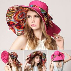 b214c3f3ef7  AETRENDS  2017 Fashion Design Flower Foldable Brimmed Sun Hat Summer Hats  for Women UV Protection Z-2657