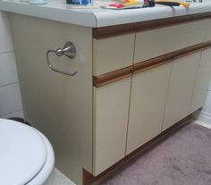Diy Painting Laminate Bathroom Cabinets bathroom update + how to paint laminate cabinets | shiplap