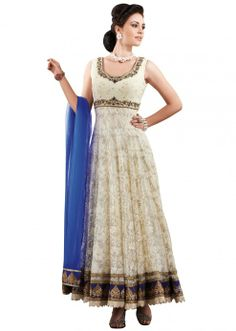 Off white anarkali suit with resham and zari work all over