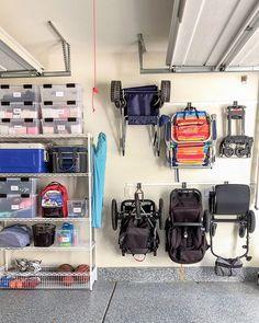 Garage MVPs: Utility tracks hanging accessories airtight storage bins and adjustable metal shelving. You heard it hear first! Clean Garage, Garage Shed, Garage House, Garage Workshop, Organized Garage, Garage Bike, Garage Workbench, Garage Storage Solutions, Garage Organization