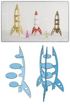 ROCKET SHELF - Template cutting file - Rocket shelving stand - laser and cnc router cutting plans, toy bookshelf, wooden puzzle Toy Story Party, Toy Story Birthday, Anniversaire Woody, 3d Puzzel, Rockets For Kids, Cnc Router Machine, Laser Cutting Machine, Space Party, Dog Bones