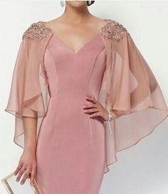 Simple Dresses, Elegant Dresses, Beautiful Dresses, Formal Dresses, Mother Of The Bride Dresses Long, Mother Of Bride Outfits, Sleeves Designs For Dresses, Couture Mode, Girl Dress Patterns