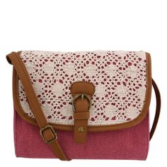 "Feminine crochet adorns this cute purse from Minicci. It features a cotton exterior, magnetic snap close, adjustable crossbody strap that extends to a 24"" drop, lined interior with two open side pockets and one zippered pocket. 8 1/4""WX6 1/2""HX2 1/2""D. 51% Cotton, 37% Vinyl, 12% Polyester."