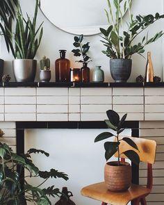 plants on the mantle. plus, i love that tile treatment.