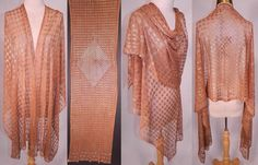 Art Deco Egyptian Assuit Cinnamon Color Net Silver Stud Diamond Shawl Scarf Vtg