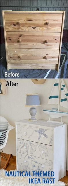 Amazing transfer technique to get the designs you want on furniture. http://www.ikeahackers.net/2017/04/stunning-nautical-ikea-rast-hack-beach-house-lover.html