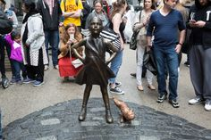 Pissed-off artist adds statue of urinating dog next to 'Fearless Girl'   New York Post
