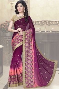 Purple and Peach Silk Saree with Brocade Blouse Online   http://www.andaazfashion.com.my/womens/sarees