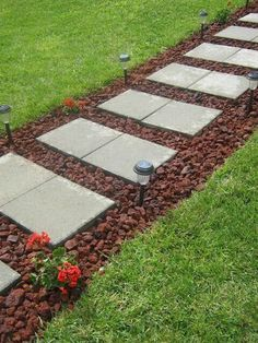 Easy walkway idea - cheap.  but with white rock instead of lava rock #cheapoutdoorideas