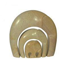 SoapStone Sculptures | Soapstone family of three elephants contemporary animal carvings