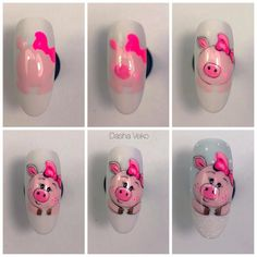 ideas fails design new years art tutorials Pig Nail Art, Pig Nails, Animal Nail Art, New Year's Nails, Love Nails, Gel Nail Designs, Cute Nail Designs, Nail Art Disney, Nail Art For Beginners