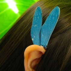 Dusk Blue Dragonfly Ear Cuff Jewelry by NightLilyDesign on Etsy, $12.00