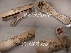Escova e estojo em madeira pirogravada. www.Facebook.com/FatitArte
