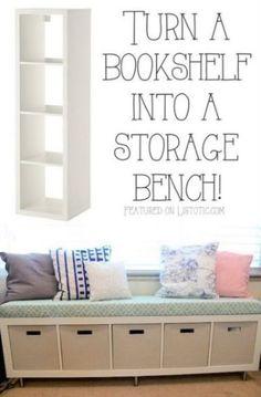 Turn an Ikea bookshelf into a storage bench. Awesome!