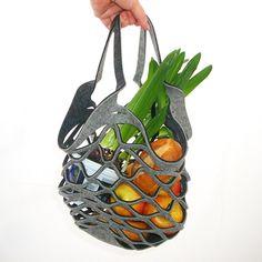 Einkaufsnetz / Shoppingtasche aus Filz, Farbe:anthrazit meliert/grau meliert Die pfiffige Idee für Ihren Einkauf. Unser HOT Netzle besticht nicht ...