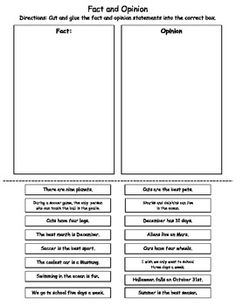Fact Opinion Worksheet   Activities, Fact and opinion and Facts