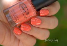 Anna Galaxy: Color Club professional nail lacquer Coral Cascade + стемпинг с диском Konad m54