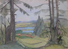 Tymon NIESIOŁOWSKI ,Pejzaż, akwarela, papier, 33 x 44 cm