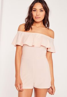Missguided - Ribbed Frill Bardot Romper Nude