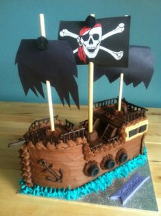 Pirate ship cake This is the second of two cakes that I made for my twin cousins birthday. My first chance to make a pirate ship cake I was very excited and I'm so happy with how it came out. Pirate Birthday Cake, Cousin Birthday, First Birthday Parties, First Birthdays, 4th Birthday, Birthday Cakes, Birthday Ideas, Kids Pirate Ship, Pirate Ship Cakes