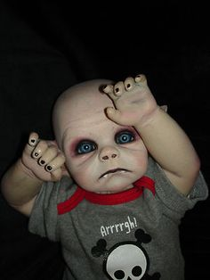 We called danny little because he would not grew passed and inches, he natural blond hair, blue eyes like the ocean little freakles on his nose. Scary Baby Dolls, Creepy Dolls, Halloween Doll, Halloween Projects, Halloween Party, Halloween 2020, Halloween Stuff, Zombie Dolls, Living Dead Dolls