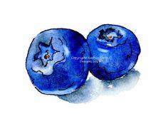 Blueberries Original Watercolor with Pen and Ink, Berries Drawing Illustration Fruit Garden Kitchen Art blue, violet, indigo