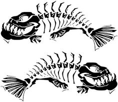 Amazon.com: 2 Skeleton fish boat Decals large Fishing graphic sticker shark salt skiff v6 (black): Home & Kitchen Skeleton Drawings, Fish Skeleton, Fish Drawings, Boat Decals, Fish Decal, Decoration Stickers, Shark Tattoos, Bone Tattoos, Bowfishing