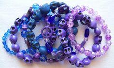 Jewel Divas Purple/Indigo/Blue skull bracelet stack