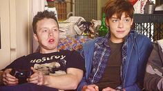 """Mickey and Ian, characters in Showtime's TV series """"Shameless,"""" defy some stereotypes of the gay community. Mickey (left) is a closeted bully troublemaker. Ian (right) is an athletic teen who is training for the military. http://www.sho.com/sho/shameless/home"""