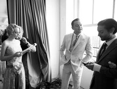 Carey Mulligan, Leonardo DiCaprio. And Tobey Maguire on the set of The Great Gatsby (2013)