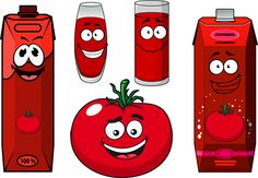 Cartoon style packaging with juice vector set 02