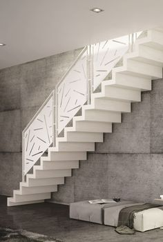 scara interioara alba design contemporan trepte masive si balustrada cu mana curenta Stair Railing Design, Home Stairs Design, Steel Gate, Exterior Stairs, House Stairs, Decoration, Decorating Tips, Minimalism, New Homes