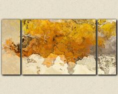 """Large triptych abstract expressionism stretched canvas print, 30x60 to 40x78 in golden yellow, """"Early This Morning"""""""