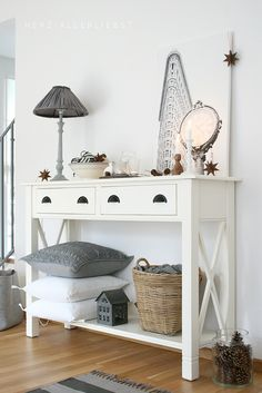 love the color combination of cream and gray; styling