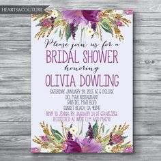 Bridal Shower Invitation,WEDDING SHOWER INVITE,Floral bridal shower invitation,Gold Glitter Bridal Shower,Purple Floral Invitation,confetti
