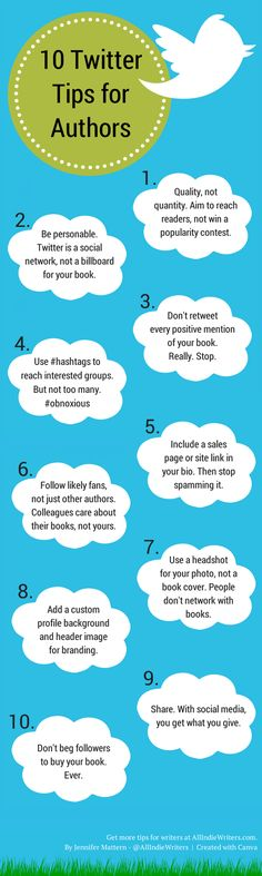 10 Twitter Tips for Authors (Infographic) From AllIndieWriters.com, here are some easy and useful Twitter tips that will help you build better relationships with existing fans (which ultimately leads to more book sales), reach more potential readers, and avoid annoying your followers in the process.